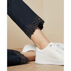 Ted Baker Applique Hem Detail Skinny Jeans  - Dark Blue - Size: W34