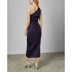 Ted Baker Animal Jacquard Asymmetric Dress  - Navy - Size: Ted Size 0 (US 2)
