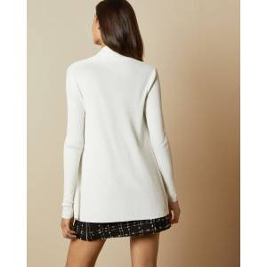 Ted Baker Woven Detail Knitted Cardigan  - White - Size: Ted Size 4 (US 10)