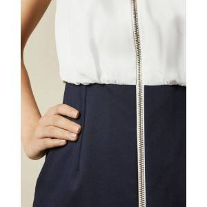 Ted Baker Bodycon Pencil Dress With Exposed Zip  - Navy - Size: Ted Size 2 (US 6)