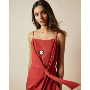 Ted Baker Knot Detail Drape Dress  - Dark Brown - Size: Ted Size 5 (US 12)