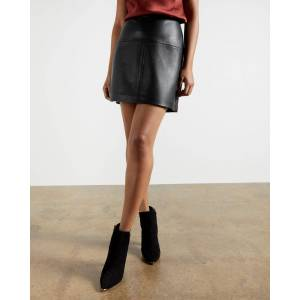 Ted Baker A-line Leather Mini Skirt  - Black - Size: Ted Size 3 (US 8)