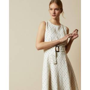 Ted Baker Spotted A-line Midi Dress  - Ivory - Size: Ted Size 4 (US 10)