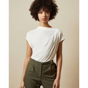 Ted Baker Cowl Detail Jersey T-shirt  - Ivory - Size: Ted Size 0 (US 2)