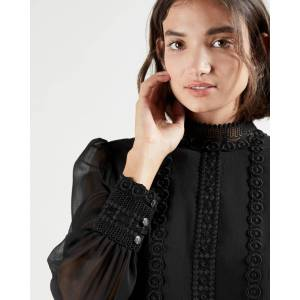 Ted Baker Lace Trimmed Top With Stand Collar  - Black - Size: Ted Size 0 (US 2)