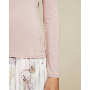 Ted Baker Fitted Long Sleeved Top  - Dusky Pink - Size: Ted Size 1 (US 4)