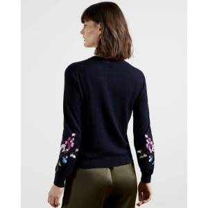 Ted Baker Peppermint Cotton Embroidered Top  - Navy - Size: Ted Size 0 (US 2)