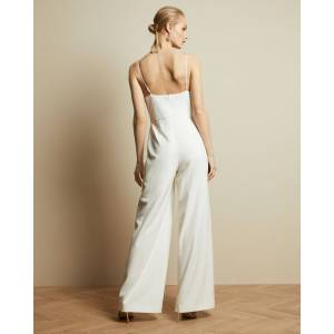 Ted Baker Cowl Neck Contrast Wide Leg Jumpsuit  - White - Size: Ted Size 2 (US 6)
