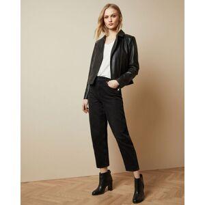 Ted Baker Leather Biker Jacket  - Black - Size: Ted Size 3 (US 8)