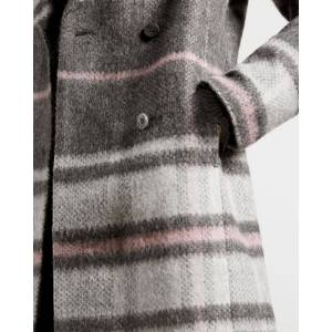 Ted Baker Chevron Wool Midi Coat  - Gray - Size: Ted Size 5 (US 12)