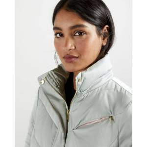 Ted Baker Fur Hood Puffa Coat  - Light Gray - Size: Ted Size 0 (US 2)