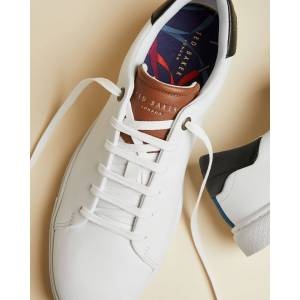 Ted Baker Leather Trainers  - WHITE-TAN - Size: US 10