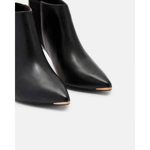Ted Baker Leather Pointed Ankle Boots  - Black - Size: US 10