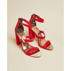 Ted Baker Suede Block Heel Sandals  - Red - Size: US 7.5
