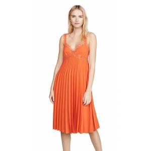 Giambattista Valli Pleated Midi Dress  - Flame - Size: 38