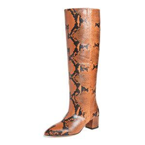 Paris Texas 50mm Python Print Boots  - Ruggine - Size: 36.5
