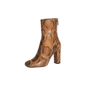 Paris Texas Python Print Square Toe Zip Ankle Boots  - Cognac - Size: 38