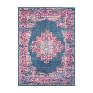 Nourison Passion Botanical 5 x 7 Area Rug  - unisex - Blue Deep Pink Gray Ivory