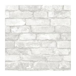 Brewster Gray and White Brick Peel and Stick Wallpaper  - unisex - Gray