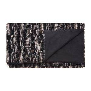 Nourison Mina Fur Black and Silver Throw Blanket  - unisex - silver