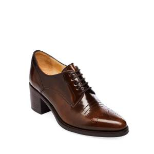 Scott Miss Button Derby Mid-heel Loafers - Brown - The Office Of Angela Scott Flats