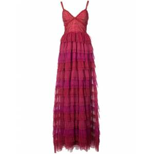 Marchesa notte Sleeveless Ruffled Lace Evening Gown - Red - Marchesa notte Dresses