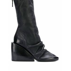 Marsell Draped Wedge Ankle Boots - Black - Marsell Boots