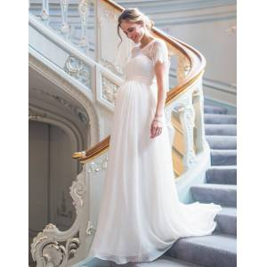 Seraphine Ivory Lace & Silk Maternity Gown