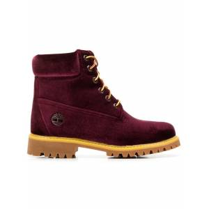 Off-White Red Women's X Timberland Velvet Boots  - Black - Size: US 7