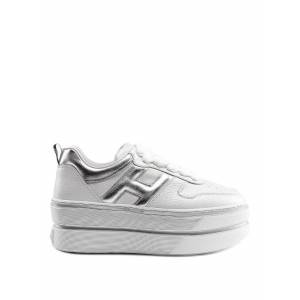 Hogan H449 White And Silver Sneakers
