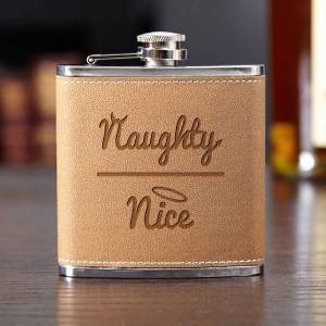 HomeWetBar Naughty or Nice Cocoa Leather Flask