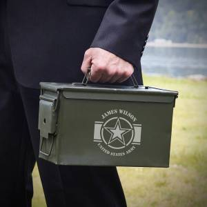 HomeWetBar Army Strong Engraved 50 Cal Ammo Can Army Gift