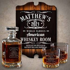 HomeWetBar Tennessee Whiskey Personalized Whiskey Decanter Set and Sign