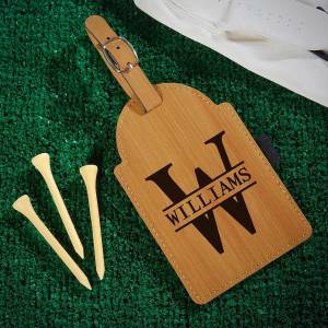 HomeWetBar Oakmont Personalized Golf Bag Tag with Tees
