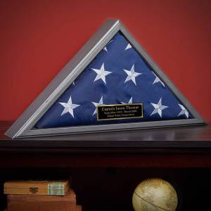 HomeWetBar Personalized Gunmetal Hardwood Police Memorial Flag Case