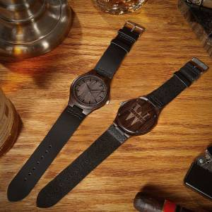 HomeWetBar Oakmont Personalized Wooden Watch with Leather Band
