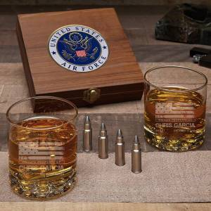 HomeWetBar American Heroes Custom Bullet Whiskey Stone Set of Air Force Gifts