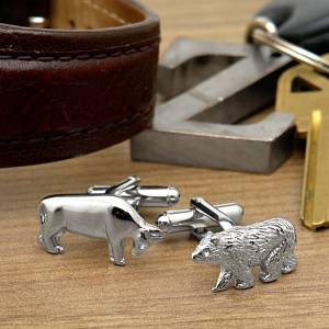 HomeWetBar Bull and Bear Designer Cufflinks