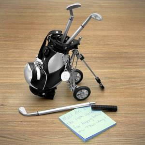 HomeWetBar Golf Pens with Golf Bag Holder, 4-Piece Set (Engravable)