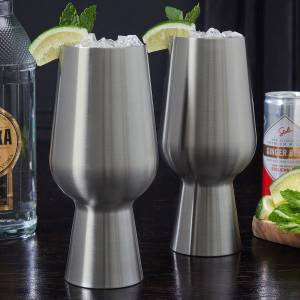 HomeWetBar Stainless Steel Cocktail Glasses
