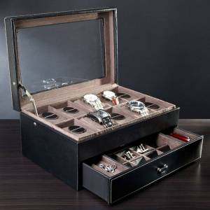 HomeWetBar Treviso Leather Valet Box and Ten Watch Display Case (Engravable)