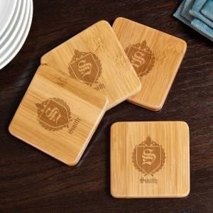 HomeWetBar Oxford Personalized Bamboo Coasters