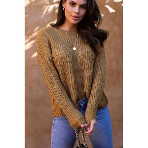 Be Cool Up At Dawn Mustard Knit Sweater  - H1492 MUSTARD Small