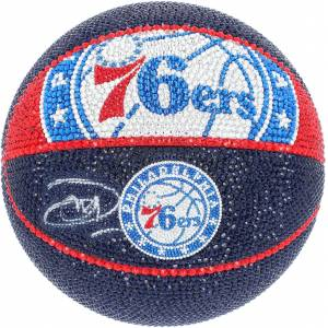 SportsMemorabilia.com Joel Embiid Philadelphia 76ers Autographed Swarovski Crystallized Spalding Courtside Basketball with LED Display Case on a Rotating Base