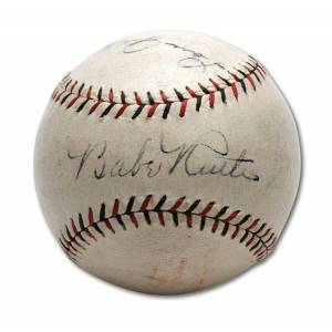 SportsMemorabilia.com The Finest Babe Ruth & Lou Gehrig Signed Baseball PSA DNA N Mint 8 & JSA COA