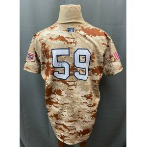 SportsMemorabilia.com Aaron Judge #59 Signed Game Used Rookie Tampa Yankees Camo Jersey Sz 52 JSA LOA