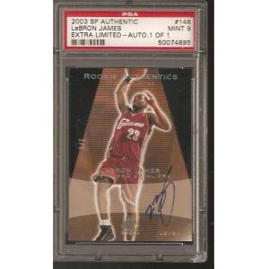 SportsMemorabilia.com Psa 9 Lebron James 2003-04 Upper Deck Sp Authentic Black Auto Autograph #d 1/1