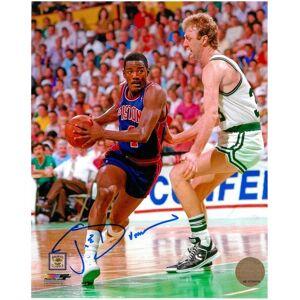 SportsMemorabilia.com Joe Dumars Autographed Detroit Pistons 8x10 Photo #1 - with Larry Bird