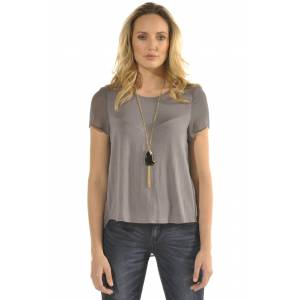 Women's Genevieve Pebble Grey Sheer Flare Back Silk Blouse / Standards & Practices Size L