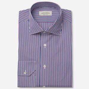 Apposta Shirt stripes multi 100% pure cotton poplin double twisted, collar style semi-spread collar